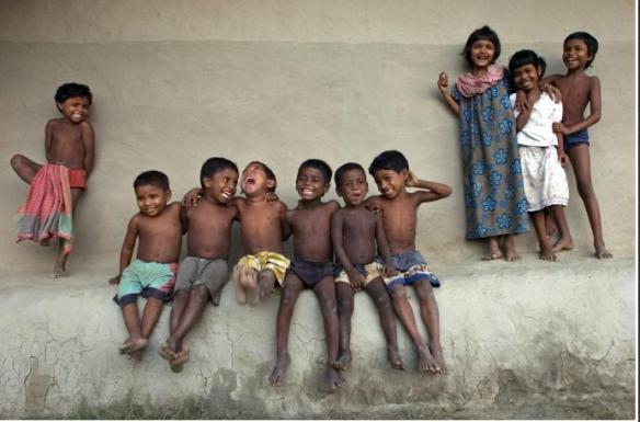 Children laughing after school, India